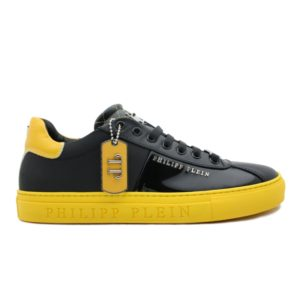 Philipp Plein baskets Optical noir et jaune basses